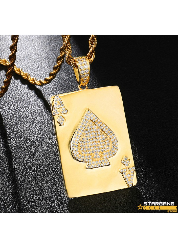 Iced Out Ace Of Spades Pendant