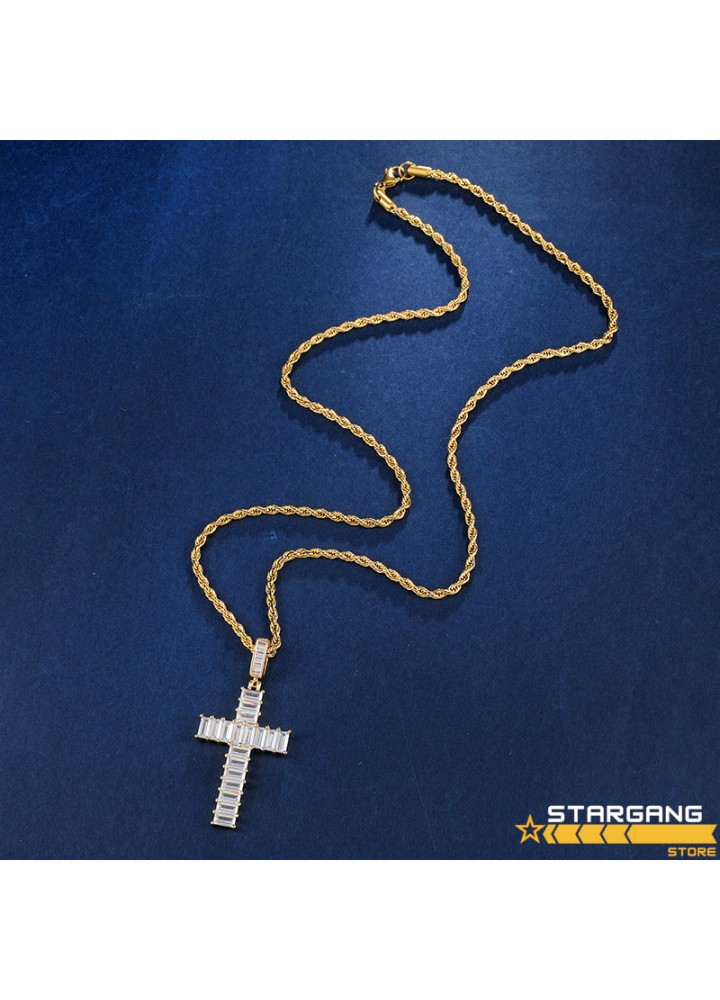 Iced Out Baguette Cross
