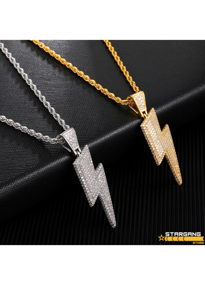 Iced Out Bolt Pendant