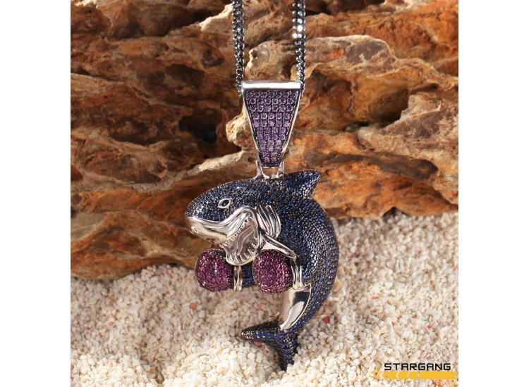 Iced Out Boxer Shark Pendant