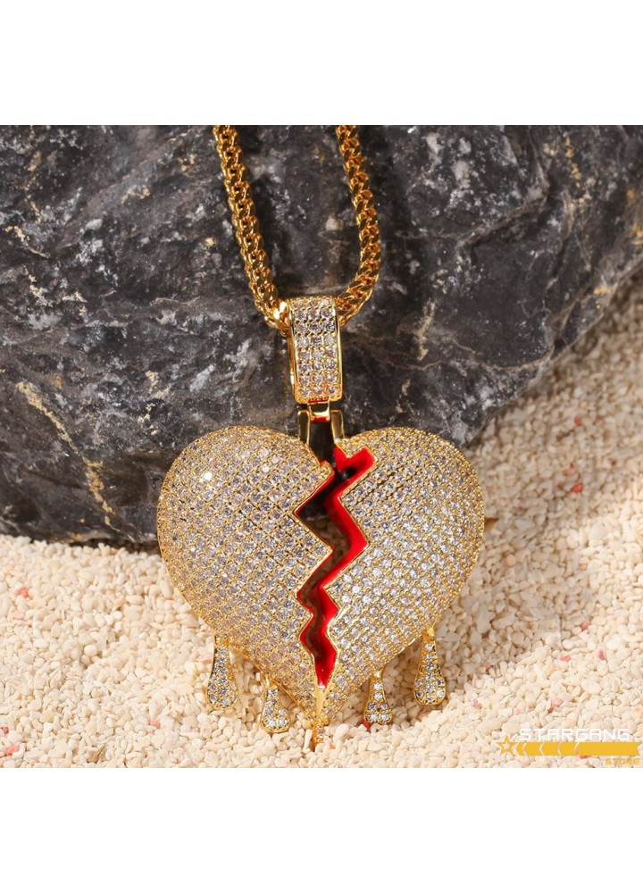 Iced Out Broken Hearth Pendant