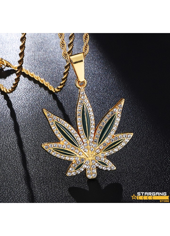 Iced Out Cannabis Pendant