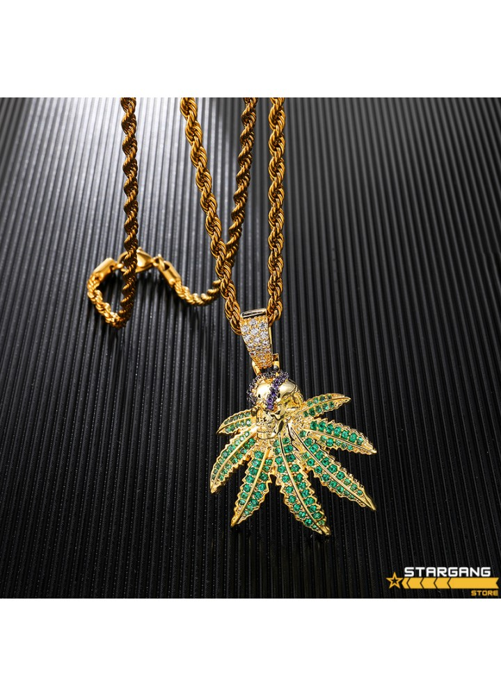 Iced Out Cannabis Leaf Pendant