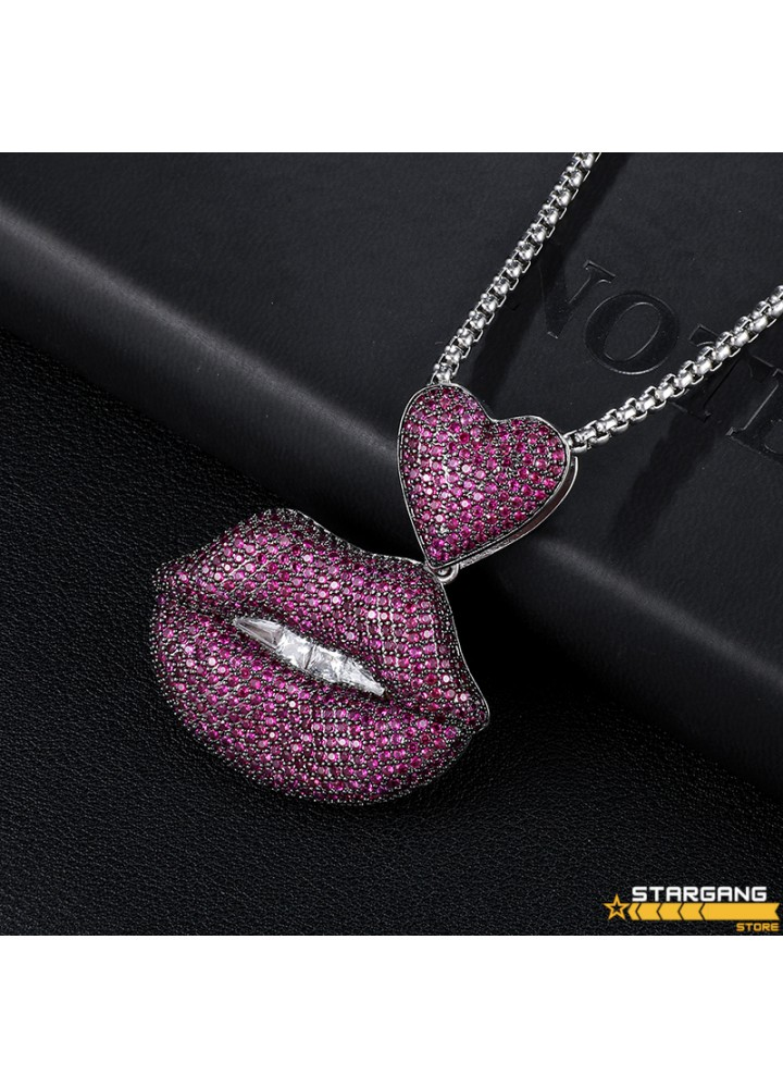 Iced Out Lip Pendant