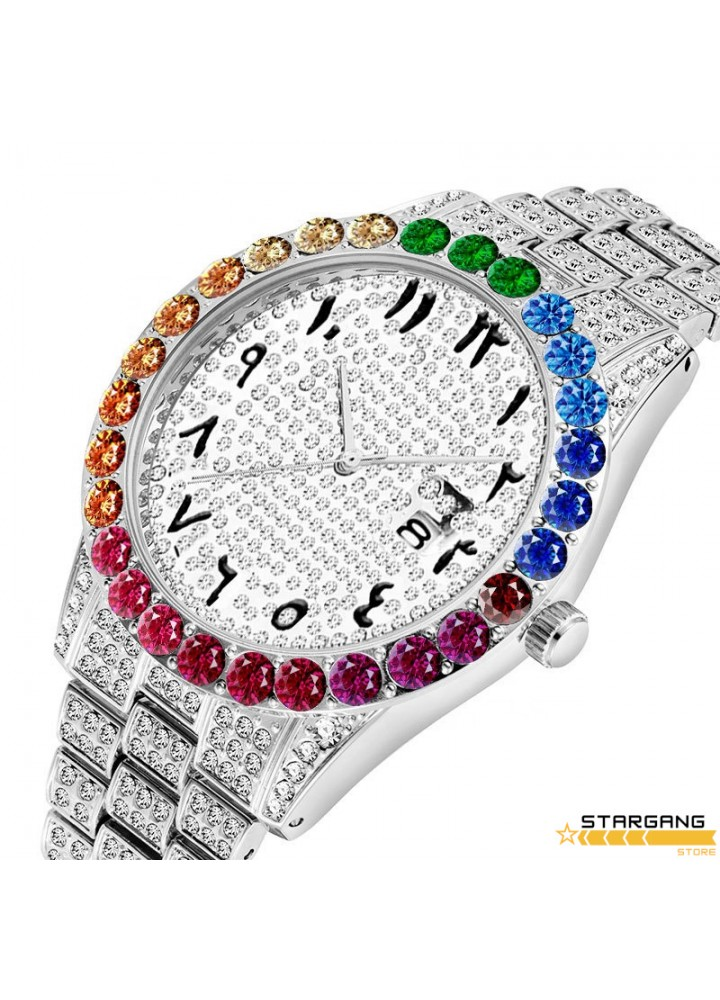 Iced Rainbow Arabic Numeral Watch