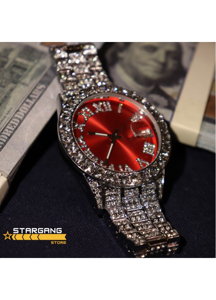 Iced Rolex Case Watch (Red-Silver)