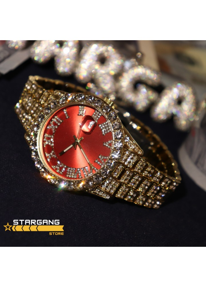 Iced Rolex Case Watch (Red-Gold)