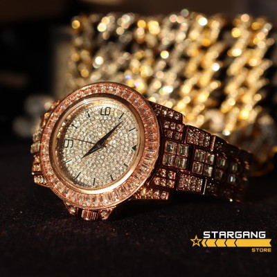 Iced Baguette Watch (Rose Gold)
