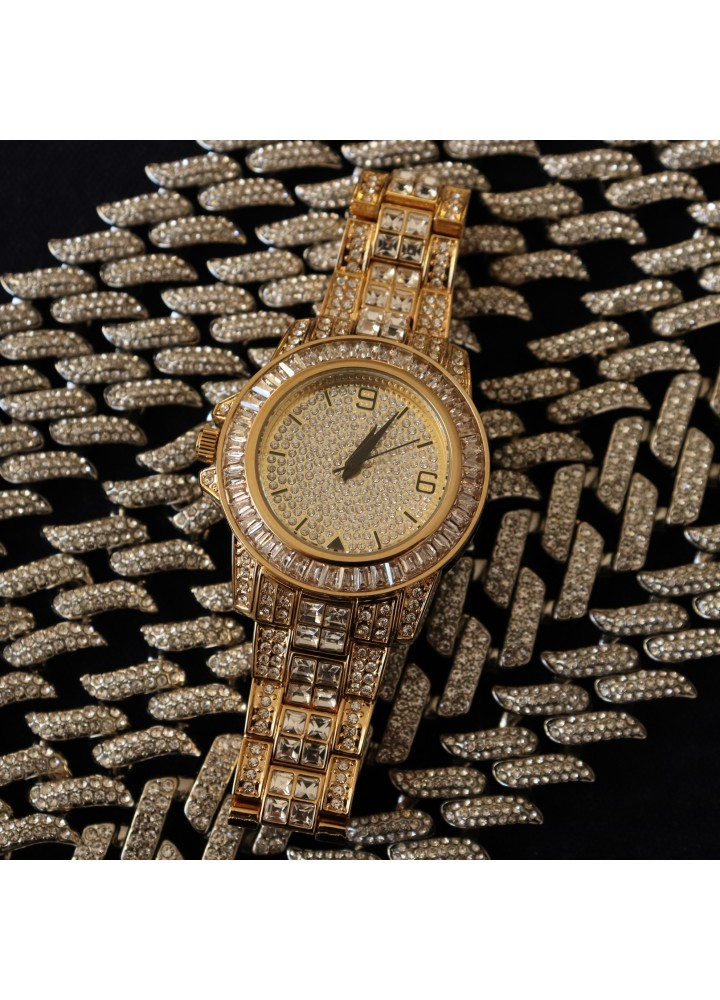 Iced Baguette Watch (Gold)
