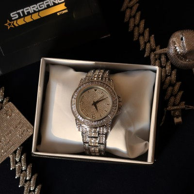 Iced Baguette Watch (Silver)